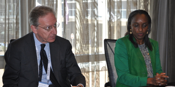 Maurizio Caio (left) and Omobola Johnson (right) talk about TLcom's VC fund for tech companies in sub-Saharan Africa during a roundtable discussion in Cape Town.